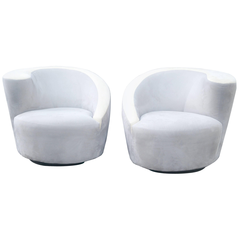 Pair Vladimir Kagan Nautilus Swivel Lounge Chairs