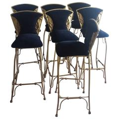 Seven Gilded Bar Stools Hollywood Regency 1970s Molded with Cobra Snakes