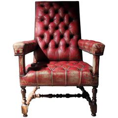 Wonderfully Grand Leather Upholstered and Walnut Open Armchair, circa 1880