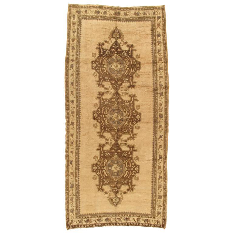 Vintage Oushak Carpet, Handmade Oriental Rug, Beige and Brown