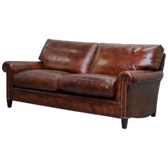 Fully Restored George Smith Aged Whiskey Brown Leather Signature Sofa Feathers
