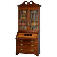 Edwardian Cylinder Bureau Bookcase in Mahogany