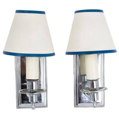 Mid-20th Century Pair Chrome Modernist Wall Lights Sconces French