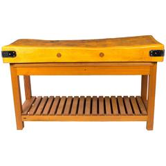 Mid-20th Century Modernist Butchers Block-Table
