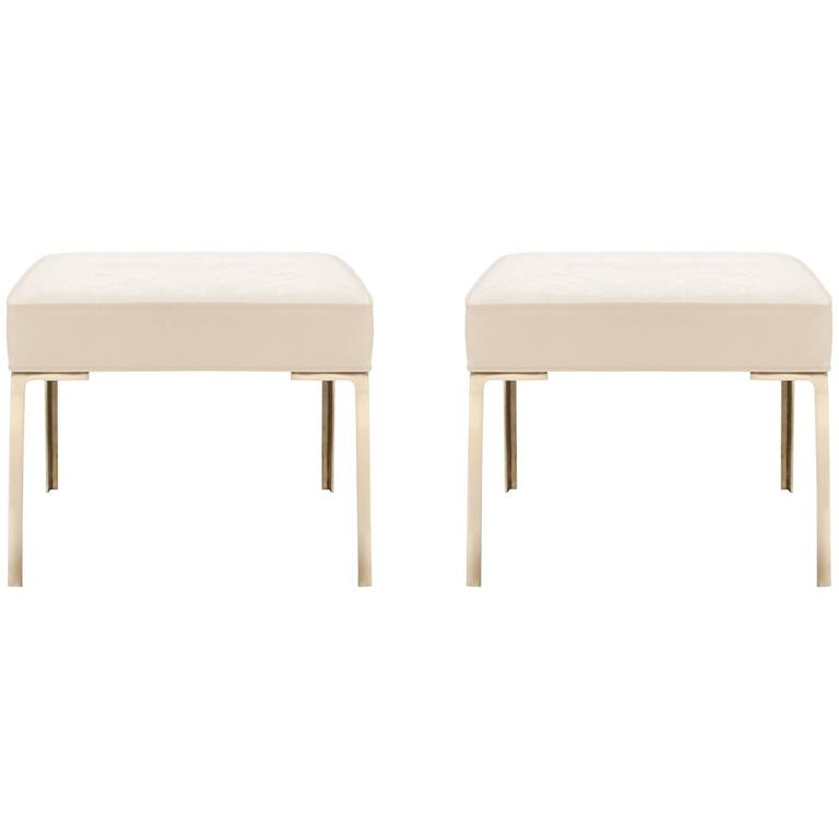Astor Brass Ottomans in Bone Luxe-Suede by Montage, Pair