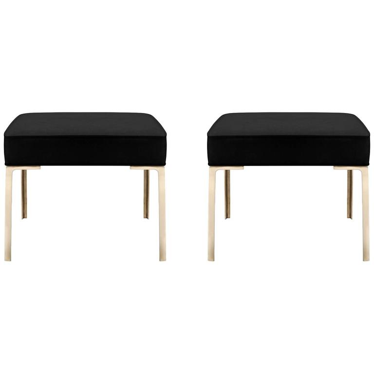 Astor Brass Ottomans in Noir Luxe-Suede by Montage, Pair