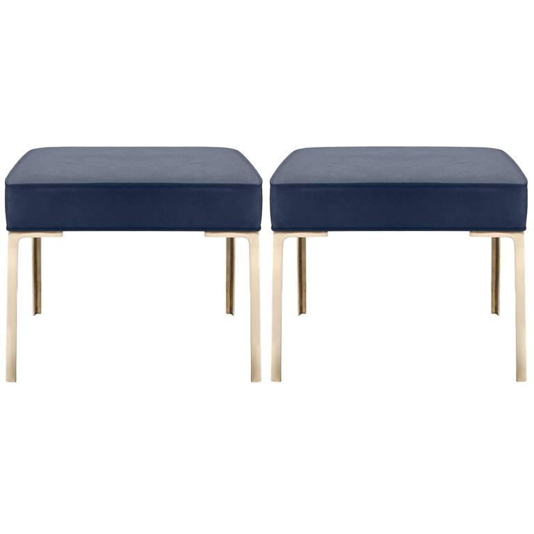 Astor Brass Ottomans in Midnight Luxe-Suede by Montage, Pair