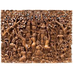 Balinese Carved Wall Panel, Mid-Century Decorative Art