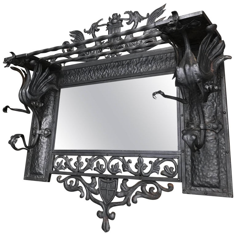 Stunning Arts and Crafts Wrought Iron Wall Coat Rack / Mirror with Dragons