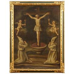 18th Century Spanish Religious Painting Crucifixion Oil on Canvas