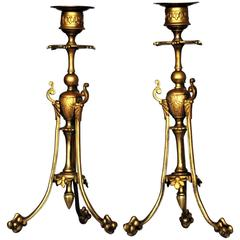 Mid-19th Century Pair of French Empire Gilt Bronze Candle Holders, Candelabra
