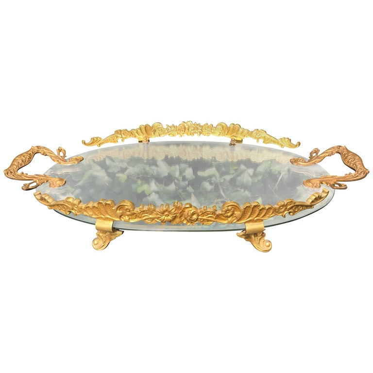 Hand-Crafted, Gilt Bronze and Oval Mirror Serving or Display Tray Flowery Design