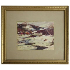 "Antique Emile A. Gruppe Print ""The Old Covered Bridge"", circa 1920"