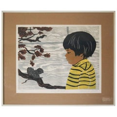"""Limited Edition Rosalind Smith Woodblock Print """"The Autumn of Poetry"""", Signed"""