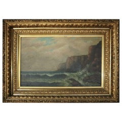 Antique Oil on Canvas Painting of Seascape in First Finish Giltwood Frame