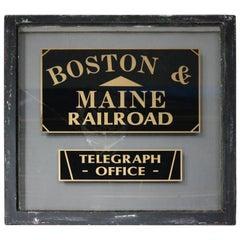 "Antique ""Boston & Maine Railroad Telegraph Office"" Door Window Sign"