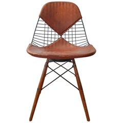Eames PKW-2 Swivel Dowel Wire Chair with Leather Bikini Cover