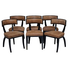 Set of Six New IPE Cavalli Nevella Vertina Italy Dining Chairs Suede Display Use