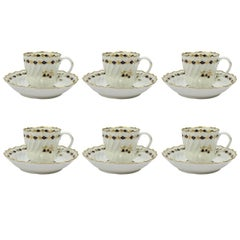 Set of Six 18th Century Flight Worcester Porcelain Tea Cups and Saucers