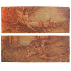Pair of French Cherubs Oil Wall Painting, 1929