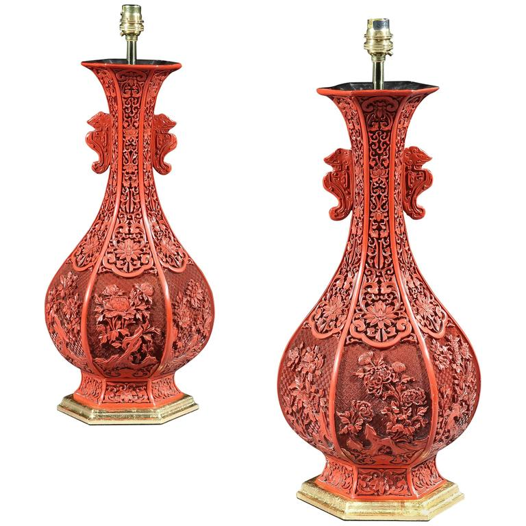 Pair Of Mid 19th Century Chinese Red Cinnabar Lacquer