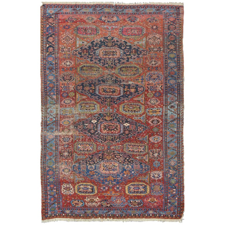 Antique Caucasian 19th Century Sumac Rug in Varying Colors of Red, Green & Blue