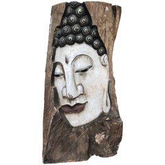 Sublime Buddha, Old Hand-Carved and Hand-Painted Wooden Panel of Buddha