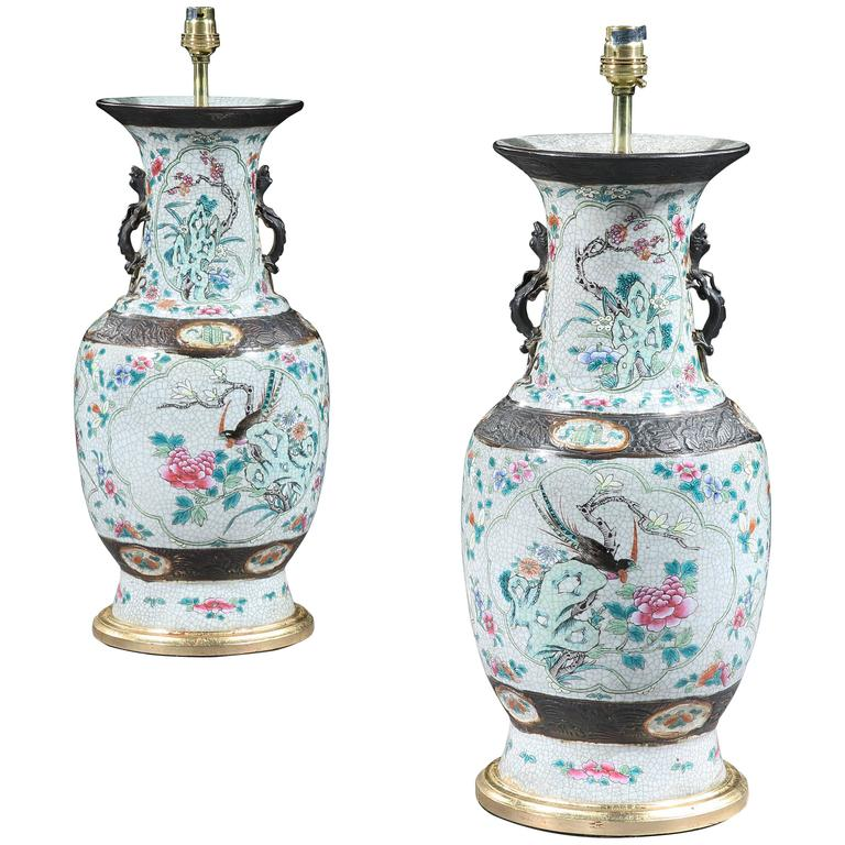 Pair of Mid-19th Century Chinese Polychrome Craquelleure Vases Mounted as Lamps