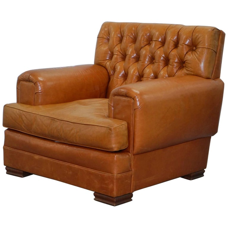 Ralph Lauren Armchair Aged Tan Brown Vintage Distressed Leather Very Rare Find For Sale