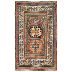 Late 19th Century Antique Kazak Carpet with Colorful Geometric Design