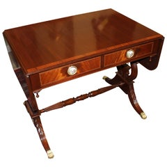 Regency Style Mahogany Lyre-Base Cabot Sofa Table by H. Saks & Sons