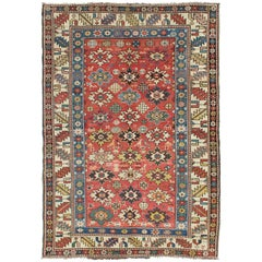 Antique Caucasian Shirvan Rug with All-Over Blossom Pattern & Vibrant Colors