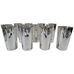 Set of 12 Tiffany Mid-Century Modern Sterling Silver Highballs