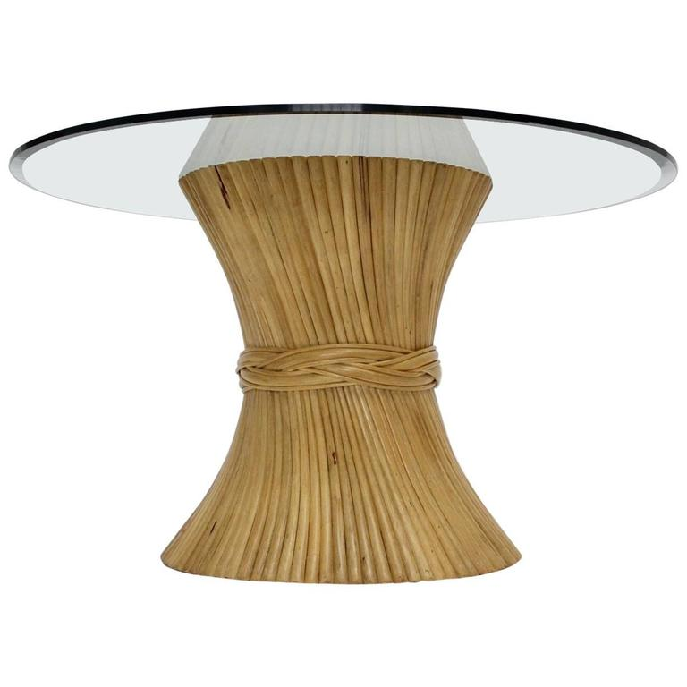 Bamboo Dining Table Sheaf of Wheat by Mc Guire, circa 1970 United States