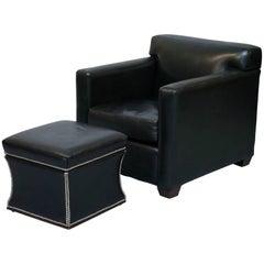 Ralph Lauren Granham Black Italian Leather Armchair & Florence Ottoman Rare Find