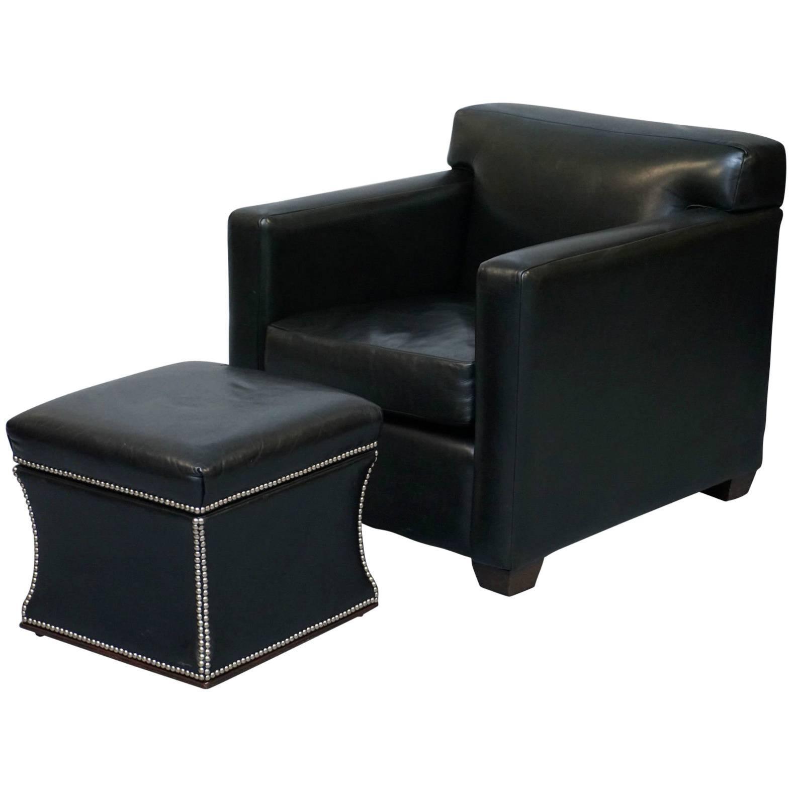 ralph lauren granham black italian leather armchair u0026 florence ottoman rare find