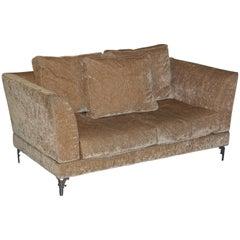 New IPE Cavalli Velvet Sofa Solid Chrome Frame Rare Find Designer Velvet Silk