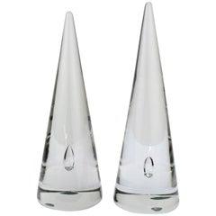 Near Pair of Alfredo Barbini Murano Glass Cones / Obelisks with Captured Bubbles