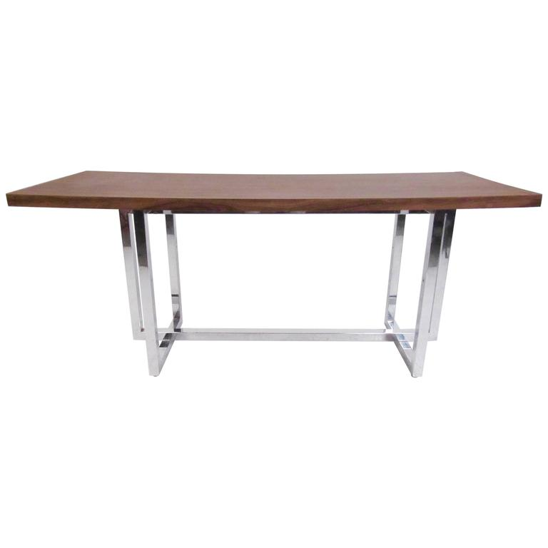Stylish Modern Console Table with Chrome Base in the Style of Milo Baughman