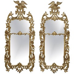 Pair of Antique Chippendale Style Gold Leaf Solid Wood Hand Bird Carved Mirrors