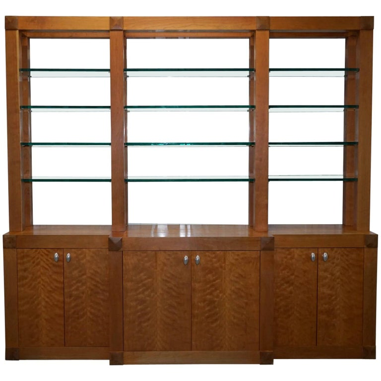 Custom-Made One-Off Solid Cherrywood and Tempered Glass Bookcase Cabinet For Sale