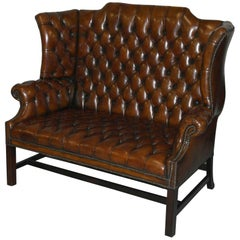 Rare 1973 Geroge III Chesterfield Hand-Dyed Wingback Leather Two-Seat Bench Sofa