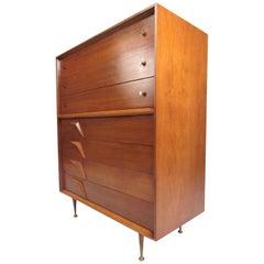 Impressive Vintage Modern Walnut High Boy Dresser