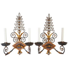 Crystal and Wrought Iron Wall Sconces, Italy, circa 1925