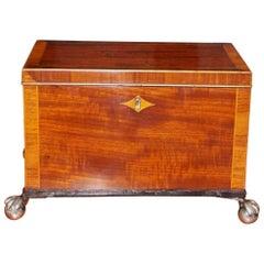 English Regency Mahogany and Tulipwood Inlaid Tea Caddy, Circa 1815