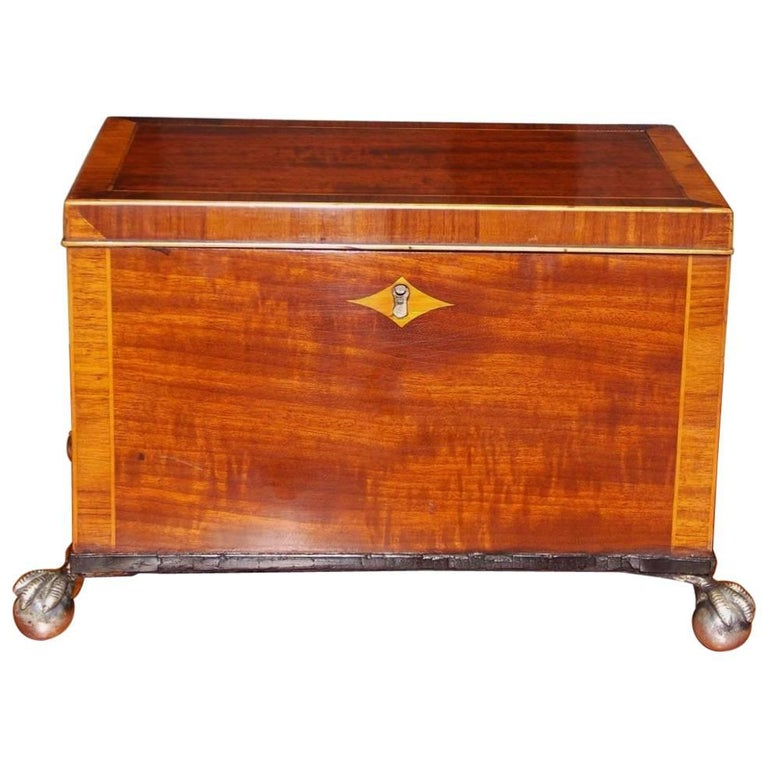 English Regency Mahogany and Tulipwood Inlaid Tea Caddy, Circa 1815
