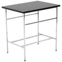Paul McCobb Side Table, Black Glass and Chrome / Nickel-Plated Brass