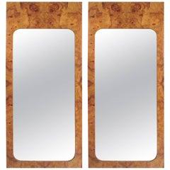 Pair of Milo Baughman Burlwood Wall Mirror's by Lane Furniture