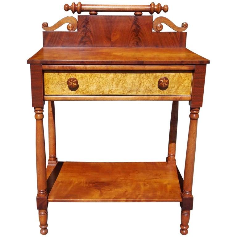 American Sheraton Mahogany and Cherry One Drawer Inlaid Stand, Circa 1820