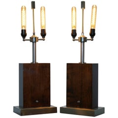 Pair of Stunning Ralph Lauren Rosewood and Chrome Table Lamps Rare Find